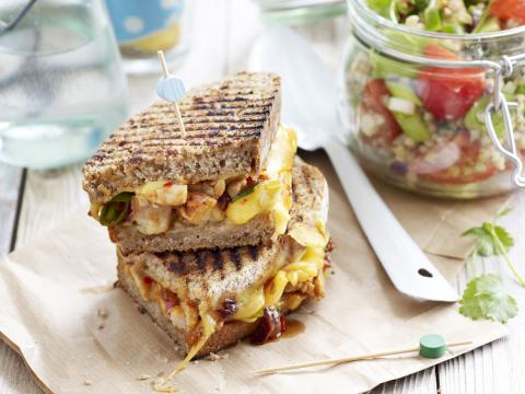 Barbecue-chicken-grilled-cheese sandwich