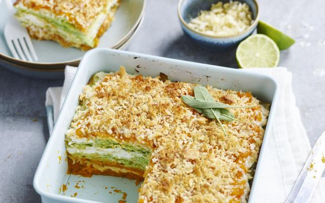 Lasagne met pompoen, savooikool en cottage cheese