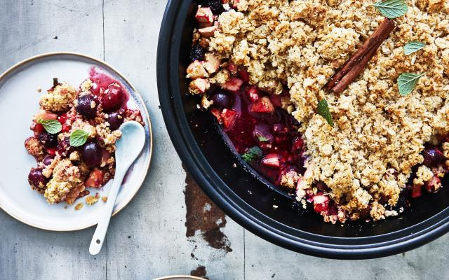 Ovengebakken herfstfruit met havermoutcrumble