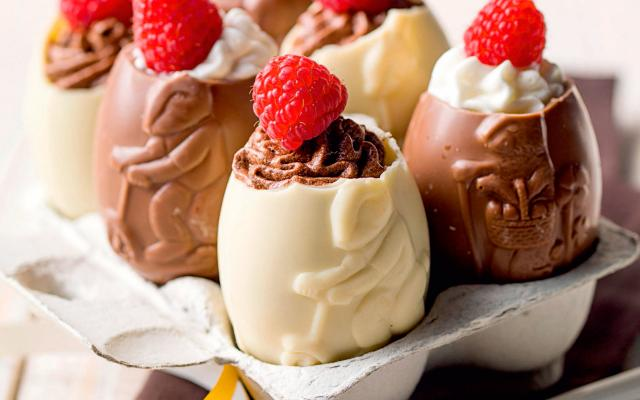 Gevulde chocolade eitjes met Pasen