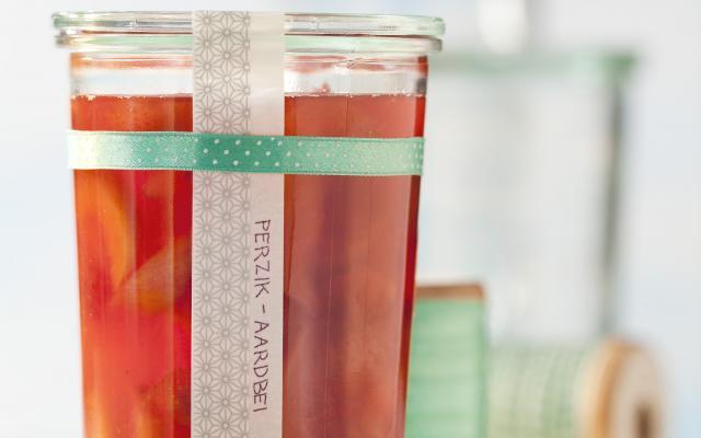 confituur rabarber perziken