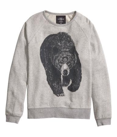 """Sweat d'homme imprimé """"ours"""", H&M, 24,95 €"""