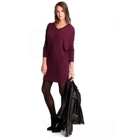 Trui-jurk van wol en kasjmier