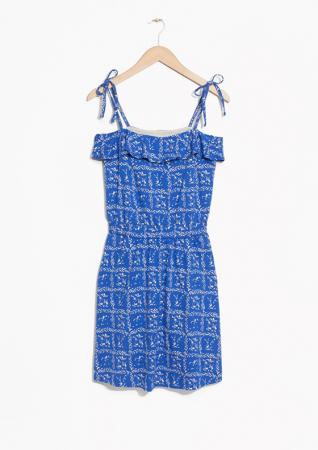 Porcelain print shoulder tie dress