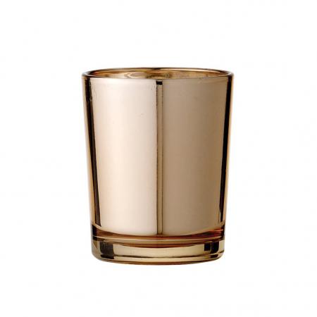 Glazen waxinelichthouder in koper