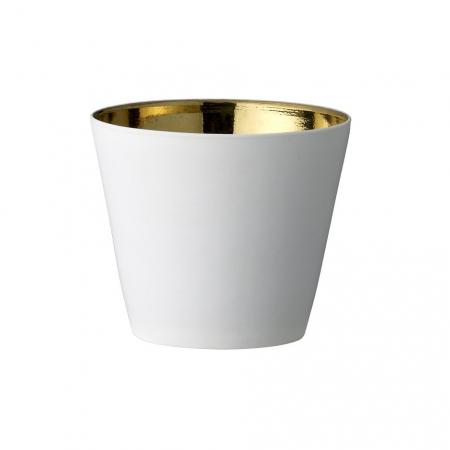 Porseleinen waxinelichthouder wit/goud