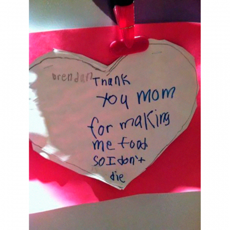 'Thank you mom for making me food so I don't die.'