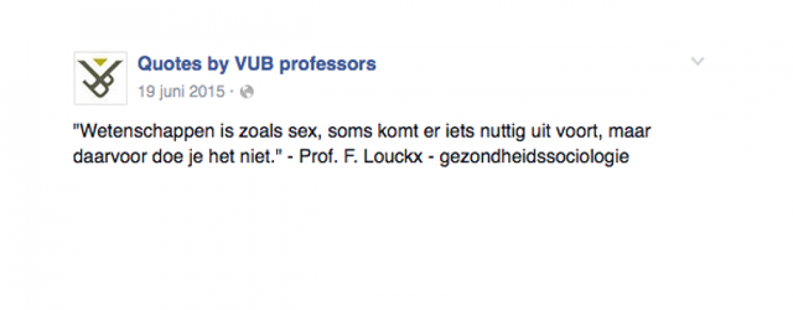 © Facebook: Quotes by VUB professors