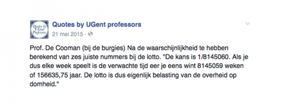 © Facebook: Quotes By UGent professors