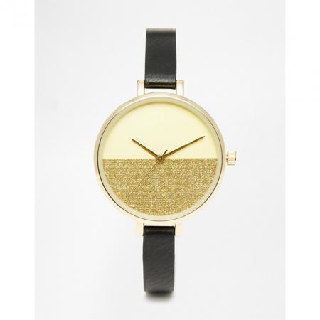 Horloge met gouden glitters