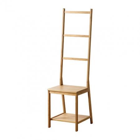 RÅGRUND, stoel met handdoekenrek in bamboe