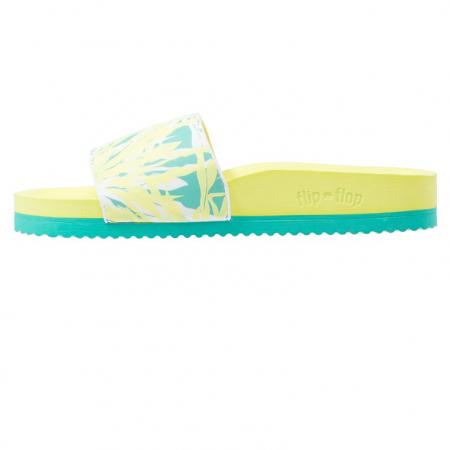Gele sandalen met groen accent