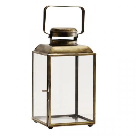 Goudkleurige kandelaar met glas
