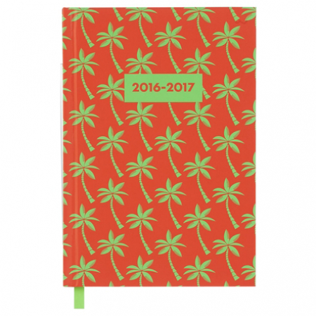 Rode agenda met palmbomenprint
