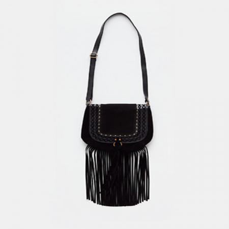 Zwarte tas met franjes