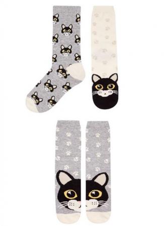 Set van 3 paar sokken met katten(prints)