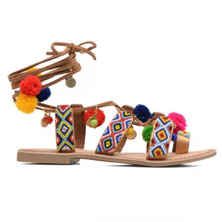 Sandalen met veters en pompons