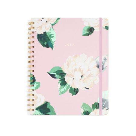 Pastelroze agenda met bloemenprint