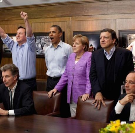Moment de joie lors d'un sommet international
