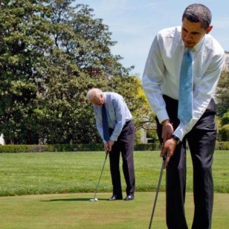 Avec Joe Biden sur le green de la Maison Blanche