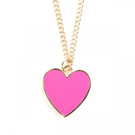 Goudkleurige halsketting met roze hartje