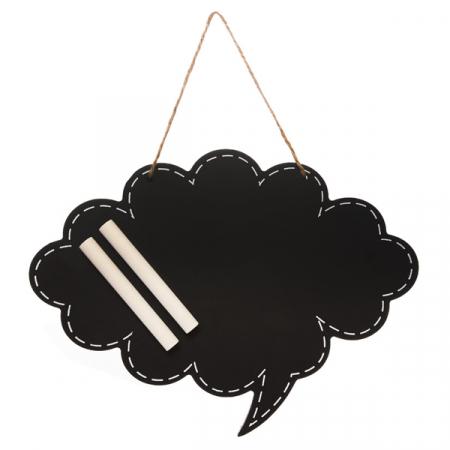 Zwart krijtbord in de vorm van een wolk