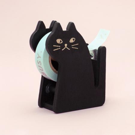 Zwarte plakbandhouder in de vorm van een kat