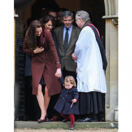 Kate met haar ouders en dochter Charlotte