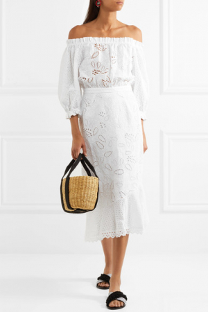 Off-the-shoulder midi-jurk met broderie anglaise