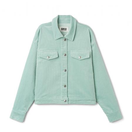 Turquoise ribfluwelen jas