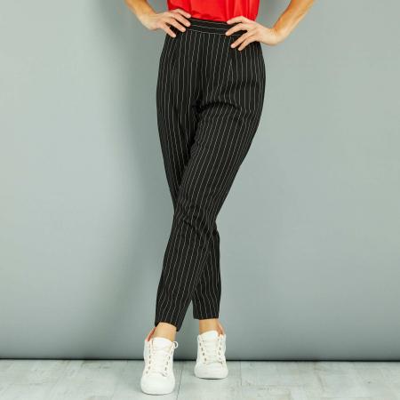 Pantalon taille haute ligné