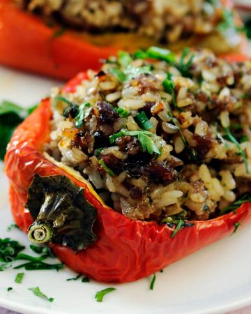 Maandag: gevulde paprika's met gehakt en rijst