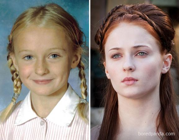 Sophie Turner als jong meisje en als Sansa Stark