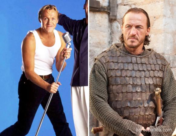Jerome Flynn in zijn jonge jaren en als Bronn