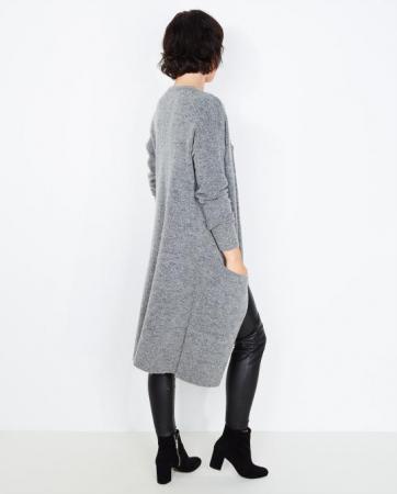 Long gilet gris en laine mélangée