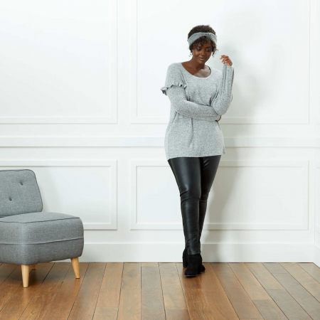 Legging à effet bi-matière