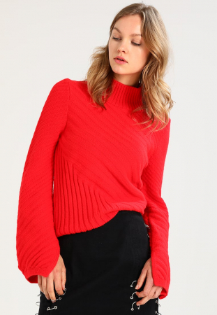 Pull-over à col montant rouge vif