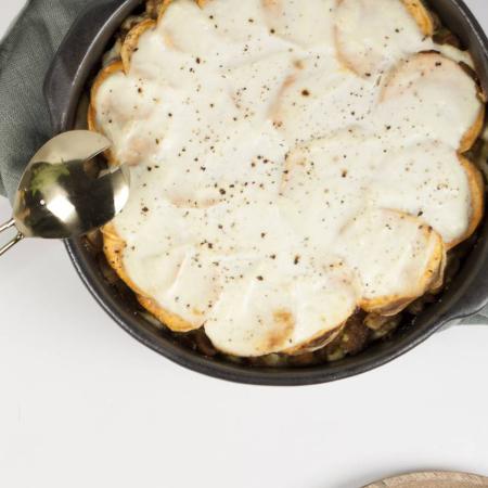 Maandag: Lasagne van zoete aardappel en kippengehakt