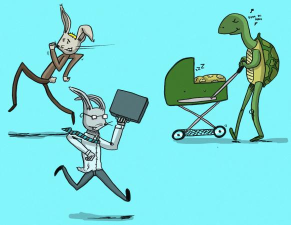 En als kersverse papa's of mama's gaan wandelen, voelen ze zich als een schildpad tussen een bende hazen. Bye bye werkstress!