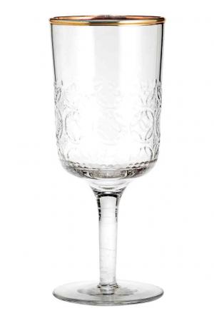 Wijnglas met reliëfdessin