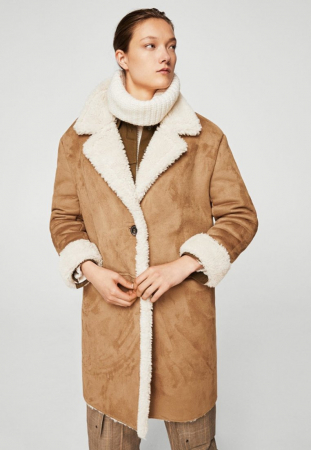 Veste d'hiver façon blouson en peau de mouton retournée