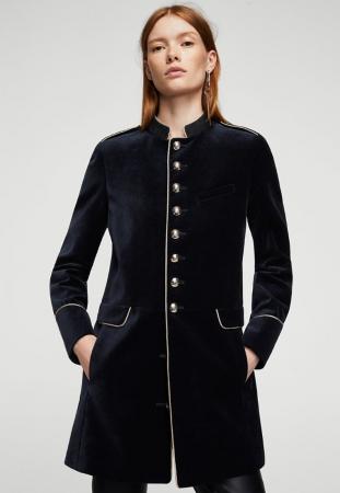 Manteau façon veste d'officier en velours