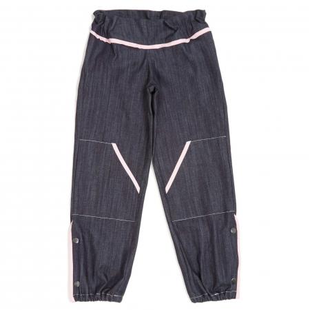 Pantalon façon denim bleu avec liserés rose pâle