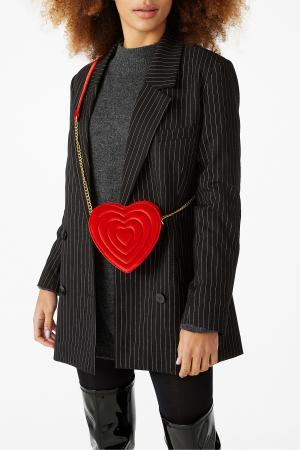 Hartvormig tasje in rood fluweel