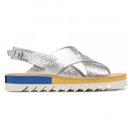 Sandales argentées à plateforme jaune et bleue