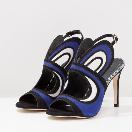 Sandales à talons noir et cobalt