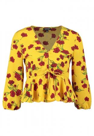 Gele bloes met bloemenprint