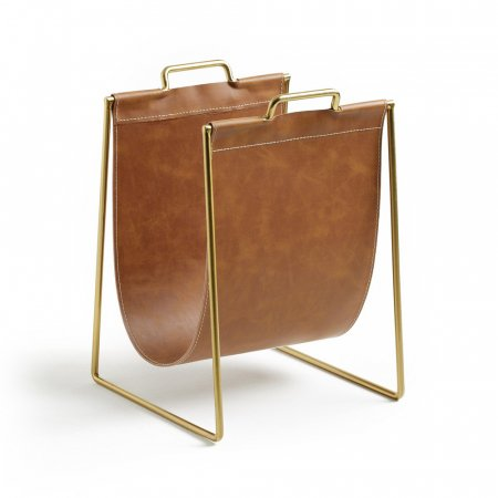 Porte-revues métal doré et simili