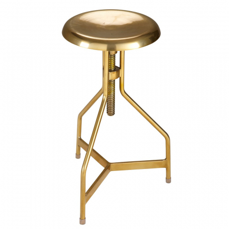 Tabouret réglable en métal doré