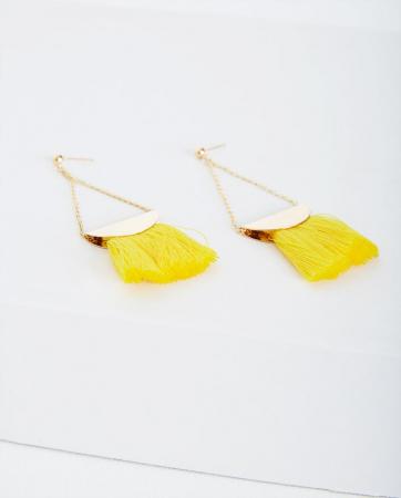 Boucles d'oreilles à pompons jaunes